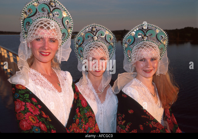 Russia former Soviet Union Volga River ms Lenin river cruise dancers ethnic costumes - Stock Image