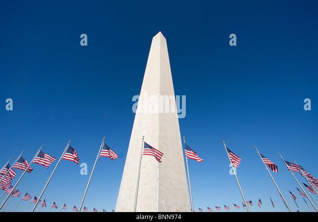 USA United States of America Washington DC flags obelisk monument - Stock-Bilder