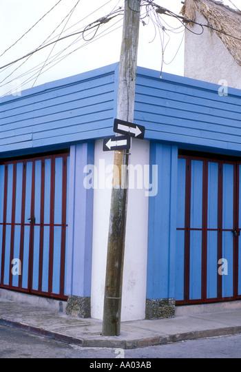 Street signs on Cozumel Island Quintana Roo Mexico Caribbean - Stock Image