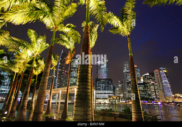 Singapore Marina Bay and skyline of the financial district at night - Stock Image
