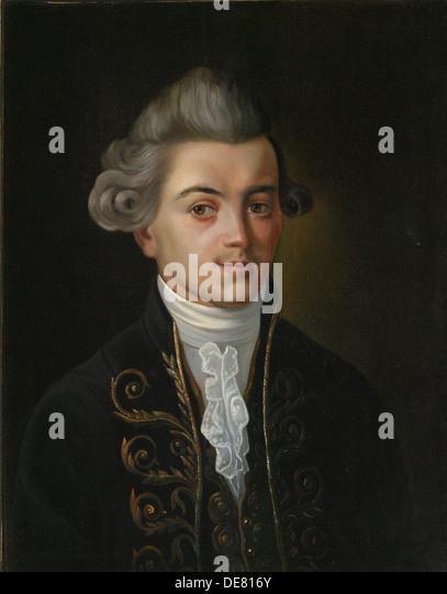Portrait of the fabulist Ivan Khemnitser', (1745-1784), Russian painting of 19th century. - Stock-Bilder