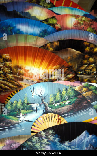 Beautiful hand painted fans in the central market in China Town Kuala Lumpur - Stock-Bilder