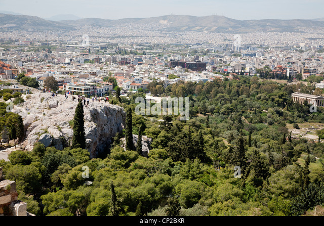 The Areopagus hill and the Temple of Hephaestus as viewed from the Acropolis. Athens, Greece. - Stock Image