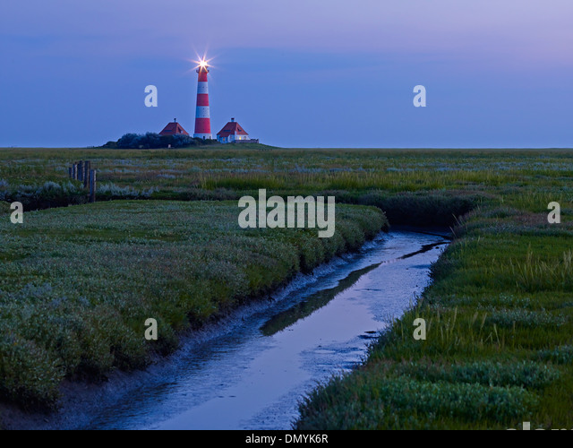 Lighthouse Westerheversand, Eiderstedt peninsula, North Frisia, Schleswig-Holstein, Germany - Stock Image