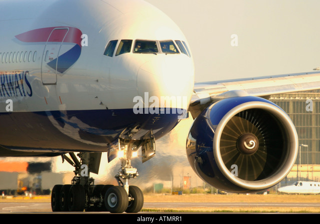 Close-up of British Airways Boeing 777-236/ER at London Heathrow Airport - Stock Image