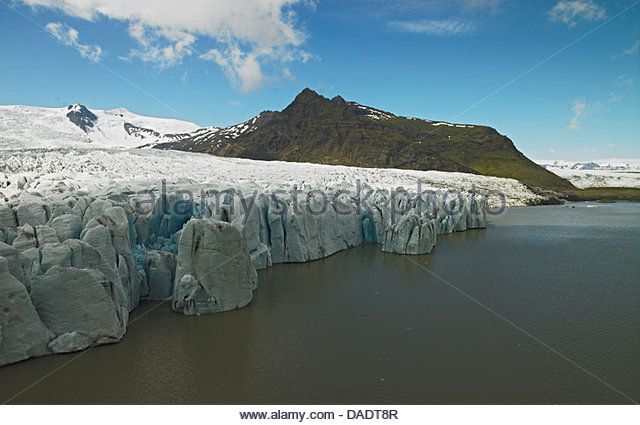 Elevated view of the Fellsjokull glacier, South East Iceland - Stock Image