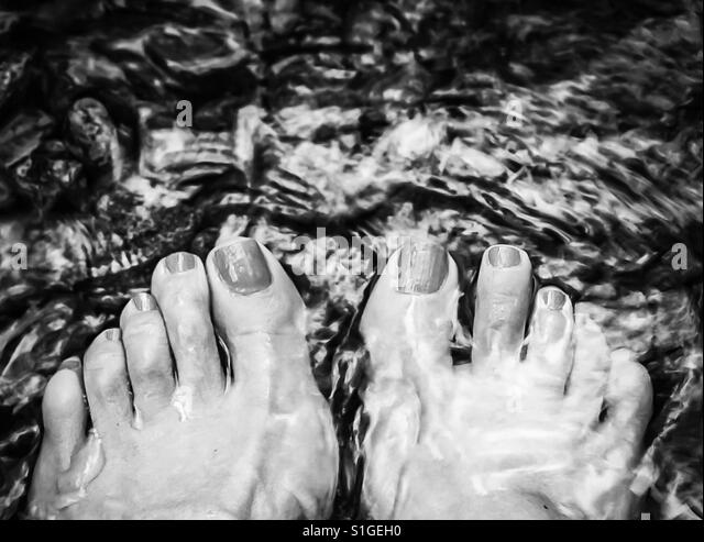 Woman's feet and toes dipped into creek water with stones. - Stock-Bilder