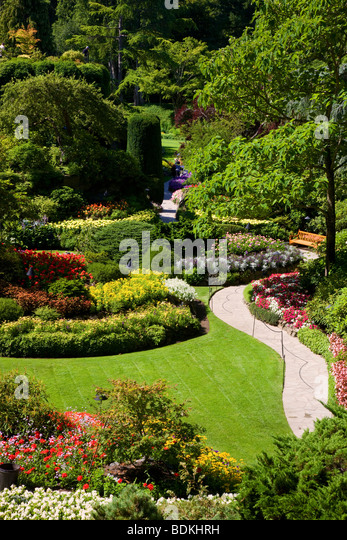 Sunken Garden at the Butchart Gardens, Victoria, Vancouver Island, British Columbia, Canada. - Stock Image