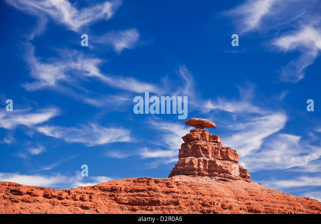 Mexican Hat Rock, Mexican Hat, Utah, United States of America, North America - Stock Image