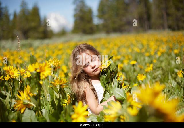 Girl in field of wildflowers - Stock-Bilder