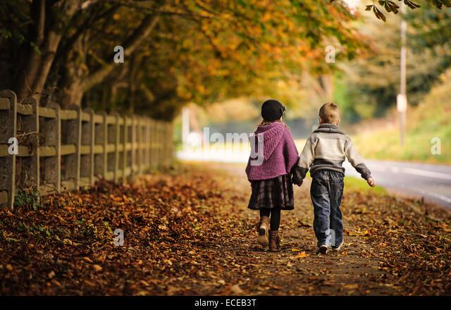 Friends (2-3) walking in autumn landscape - Stock Image