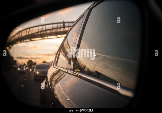Sunset on the M40 driving in to London - Stock Image