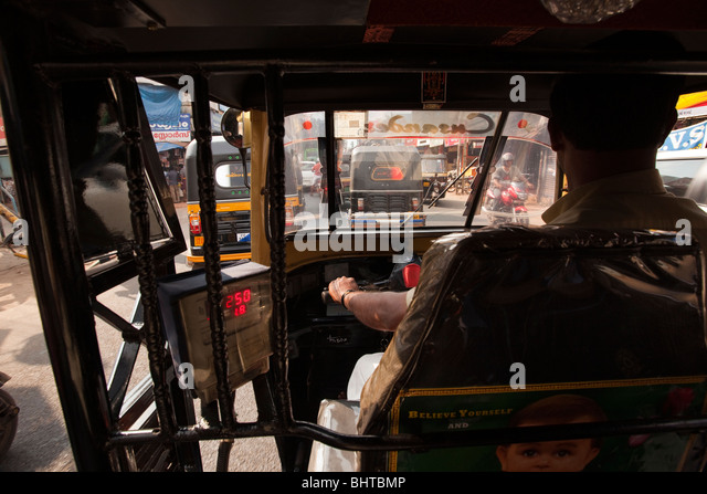 Auto Rickshaw For Rent In Trivandrum: View From Inside Auto Rickshaw Stock Photos & View From