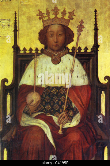 Richard II, 6.1.1367 - 14.2.1400, King of England 16.7.1367 - 29.9.1399, half length, on the throne, print after - Stock-Bilder