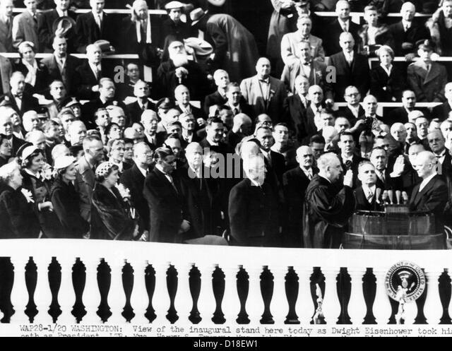 Dwight Eisenhower first Inauguration. L-R: Bess Truman; Mrs. John Eisenhower; Patricia Nixon, Major John Eisenhower, - Stock Image