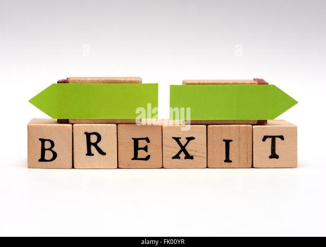 The word Brexit with opposing green arrows decision concept. - Stock Image