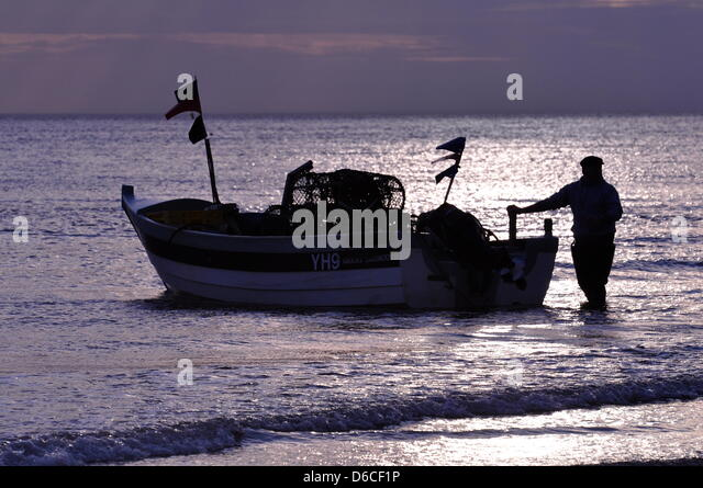 Cromer, UK. 16th April, 2013. Crab season gets underway in Cromer, UK. The Cromer crab fishermen have begun taking - Stock Image