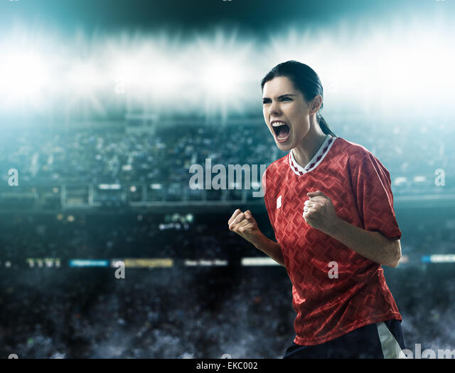 Footballer celebrating goal - Stock Image