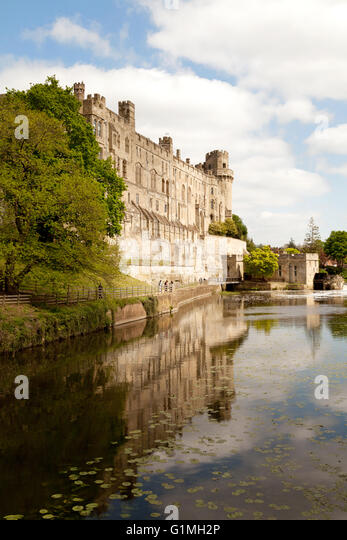Warwick Castle and the River Avon, Warwick, Warwickshire, UK - Stock Image