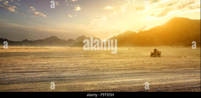 Sandy field in desert of Egypt at sunset - Stock Image