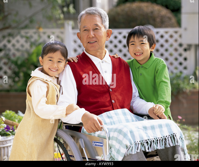 Grand father with their grand children - Stock-Bilder