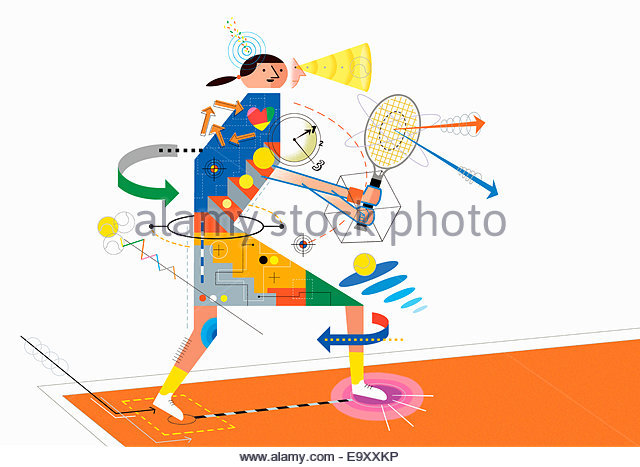 Diagram analyzing technique of woman playing tennis - Stock Image