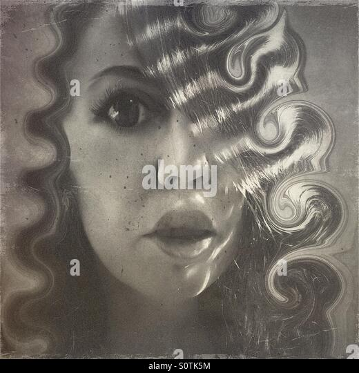 Portrait of a Woman with Large Lips and Eyes and Curly Hair - Stock Image