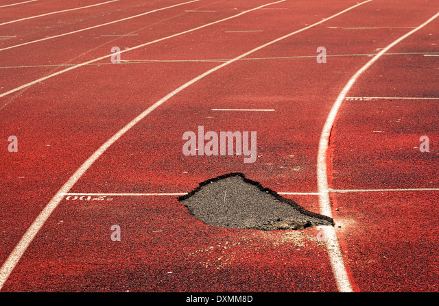 Running track decayed - Stock Image