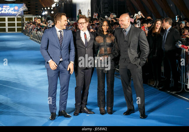 Tokyo, Japan. 10th April, 2017. (L to R) Actor Chris Pratt, Director James Gunn, actress Zoe Saldana and actor Dave - Stock Image