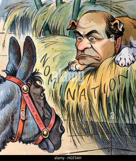 The dog in the manger   Political Cartoon shows a donkey labeled 'Democratic Party' staring at a dog labeled - Stock Image