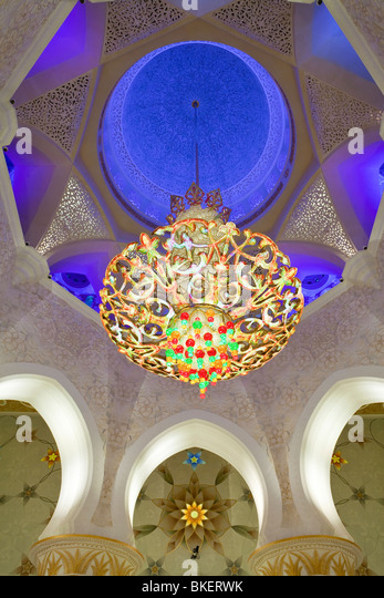 Main dome inside the prayer hall of Sheikh Zayed Bin Sultan Al Nahyan Mosque, Abu Dhabi, United Arab Emirates, UAE - Stock Image