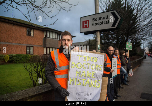 Junior Doctors and supporters on the second strike of 2016 outside Solihull Hospital West Midlands - Stock Image
