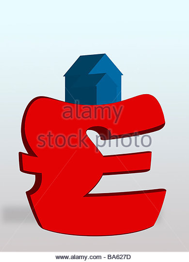 House weighing down British pound symbol - Stock Image