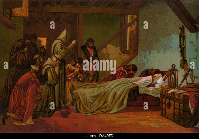 Death of Columbus in Spain, 1506. - Stock-Bilder