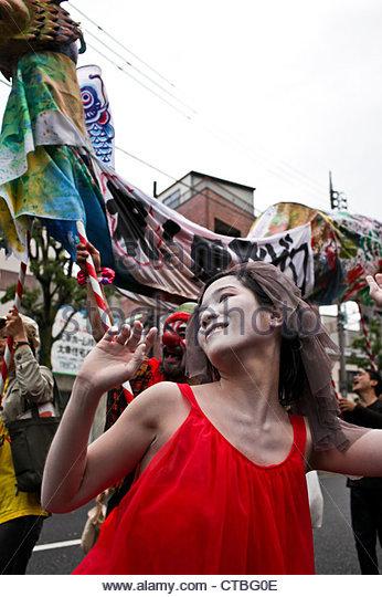 Residents of Suginami hold a 'Zero Nuclear Power Celebration Parade' in Koenji, Tokyo. - Stock Image