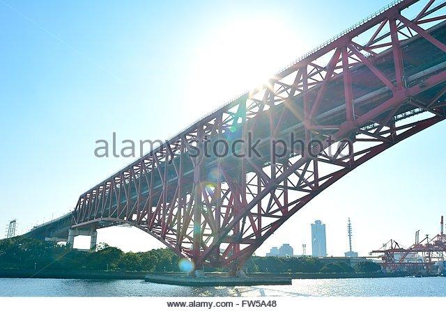view of the Osaka Bay Area - Stock Image