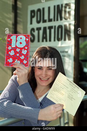 PA NEWS PHOTO 1/5/97  STUDENT DALIA GREENWOOD FROM HAMPSTEAD, LONDON OUTSIDE HER LOCAL POLLING STATION CELEBRATING - Stock Image