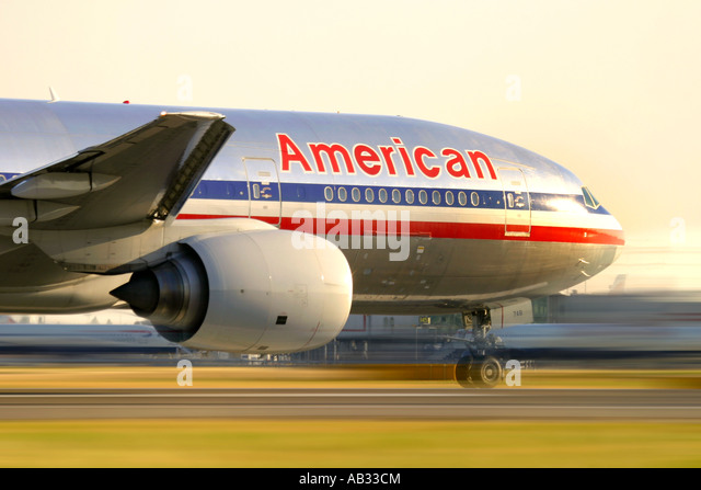 Close up of commercial airplane Boeing 777 American Airlines - Stock Image
