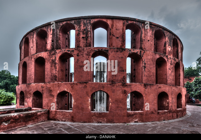 Jantar Mantar - ancient observatory with architectural astronomy instruments in Delhi, India - Stock Image