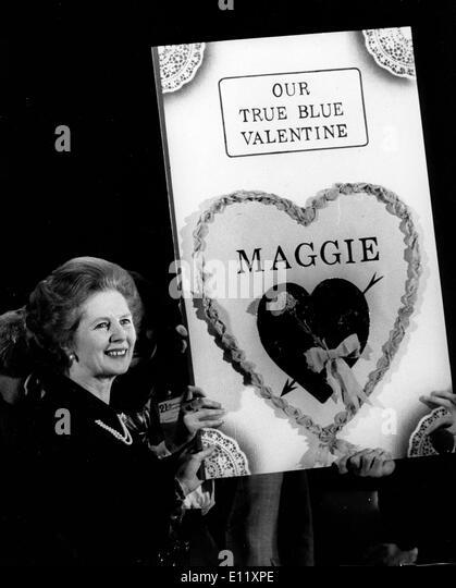 Prime Minister Margaret Thatcher receives valentine - Stock Image