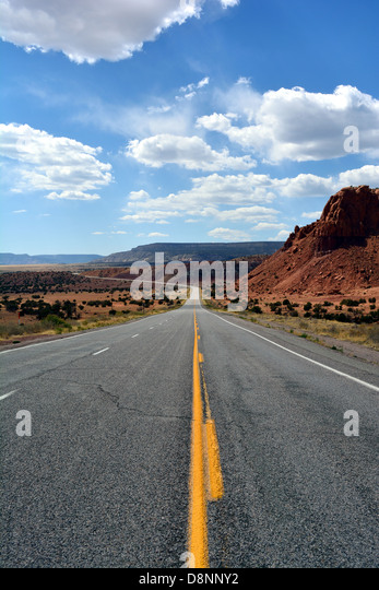 Highway 285 heading north near Abiquiu New Mexico - Stock Image