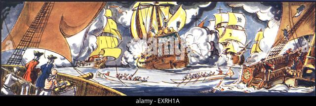 1840s & Pre UK Battles at Sea Magazine Plate - Stock Image