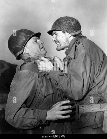 Eddie Albert and Jack Palance, on-set of the Film, 'Attack', 1956 - Stock Image