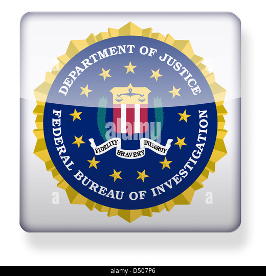FBI seal as an app icon. Clipping path included. - Stock Image