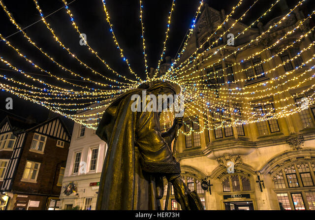 Statue Geoffrey Chaucer at Christmas High Street Canterbury Kent England - Stock Image