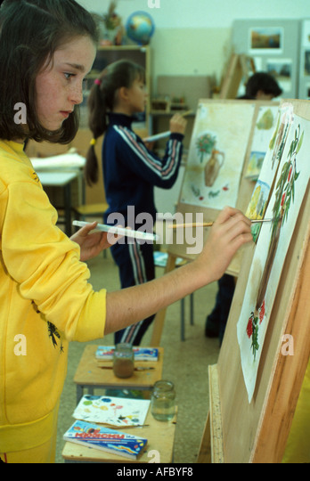 Russia former Soviet Union Moscow Lisse School art class - Stock Image