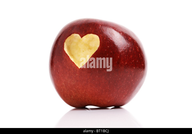 Red apple with heart symbol - Stock Image