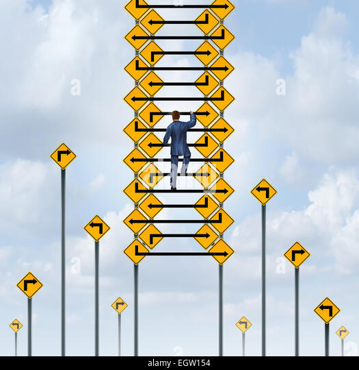 Success ladder concept and career climb symbol as a businessman climbing a group of arrow lines from traffic signs. - Stock-Bilder