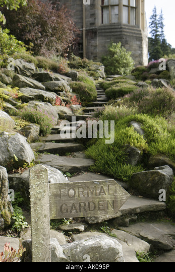 England UK Rothbury Cragside rock garden sign Formal Garden - Stock Image