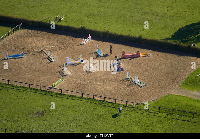 Rider and horse on show jumping course, Ardmore, South Auckland, North Island, New Zealand - aerial - Stock Image